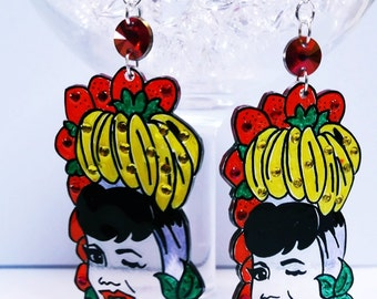 Carmen Miranda banana and strawberry hat mini illustrated shrink plastic drop earrings with crystal detail and fish hook posts