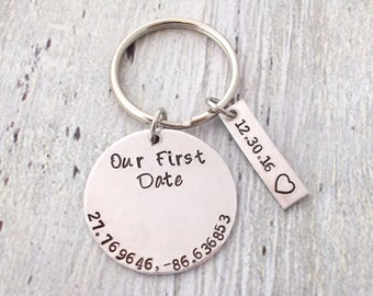 Personalized Our First Date Keychain, Coordinates Keychain, Couples Gifts