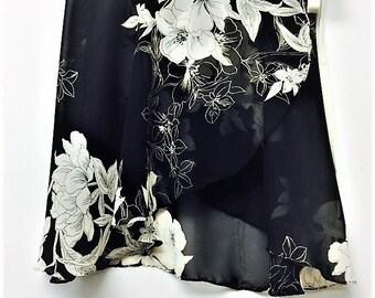 Black and White Floral Ballet Wrap Skirt-  Short