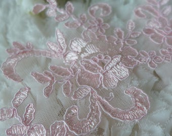 Lace Trim Bridal Fabric Chiffon Wedding Beaded by prettylaceshop