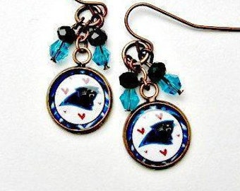 carolina panthers earrings panthers bling white pearl. Black Bedroom Furniture Sets. Home Design Ideas