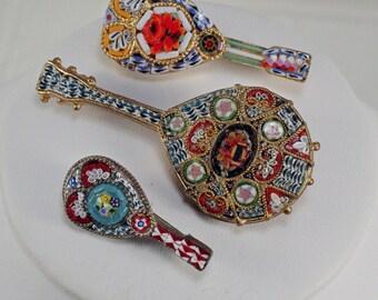 Vintage LOT Italian Mosaic Guitar Mandolin Pins, 40's-50's Mircro Mosaic Pins, Musical Instrument Pins, Mediterranean Guitar Pins