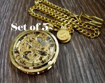Gold Pocket Watch Set of 5 Personalized Pocket Watches with Watch Chains Groomsmen Best Man Wedding Party Usher Ships to USA/Canada GOPM