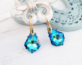 Turquoise blue Swarovski crystal earrings Gold bridesmaids wedding earrings Swarovski baroque jewellery Bermuda blue earring 24k gold plated