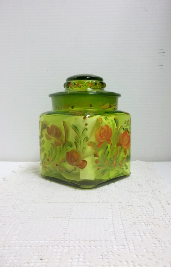green glass kitchen canisters kitchen canister green glass glass canister painted 3987