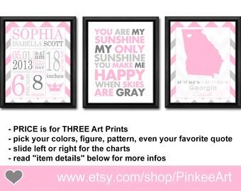 Baby girl decor with birth stats, baby girl birth announcement wall art, new baby girl nursery room decor, Baby Stats Wall Art, Birth Print