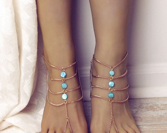 Turquoise Barefoot Sandals Gold Barefoot Sandals Boho Anklet Foot Jewelry Bohemian sandals Beach Sandals Beach Wedding Gold Gypsy Sandals