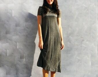 Silver Maxi Dress, Silver Boho Dress, Long Grey Dress, Vintage 60s Dress, Long Prom Dress, Crochet Dress, Grey Evening Dress, Metallic Dress