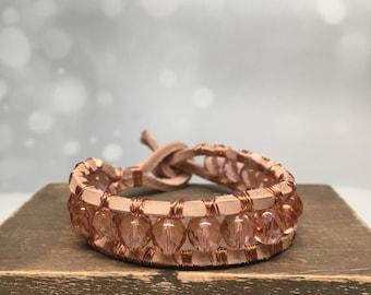 Peach bracelet, tiny leather bracelet, rose gold bracelet, peach wrap bracelet