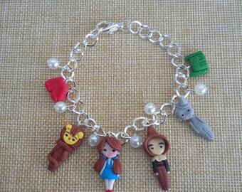 World of Oz bracelet, fanart, polymer clay, cute, chibi, kawaii crafts