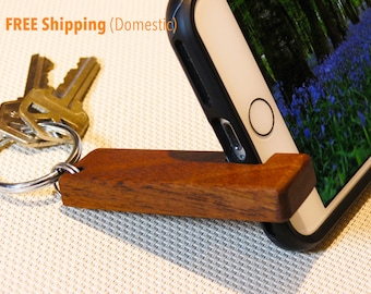 Keyring & Stand for iPhone / Android - Walnut Wood