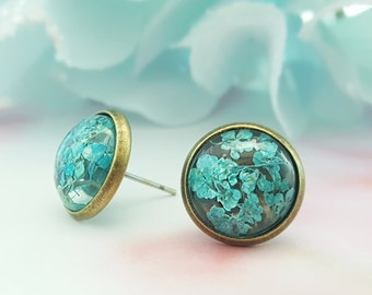 Blue Flower Studs, Aquamarine Earrings, Light Blue Studs, Dried Blue Flower Earring, Blue Queen Annes Lace, Daughter Gift, Girlfriend, E6507