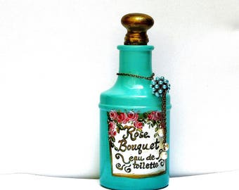 Painted Roses Perfume Bottle Romantic Victorian Powder Room Decor FREE SHIPPING