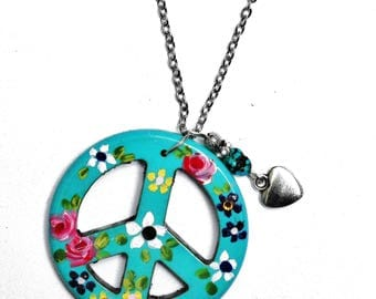 Painted Flower Peace Necklace with Turquoise Nugget and Heart Charm FREE SHIPPING