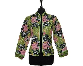 KANTHA JACKET - Large - Short style - Size 12/14 - Green and pink. Reverse similar