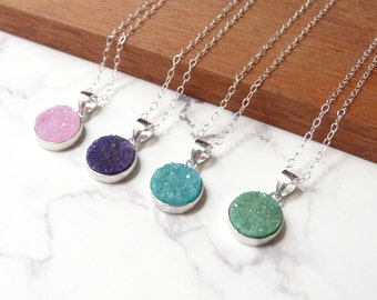 Raw druzy necklace, natural stone, sterling silver jewelry, pink, purple, blue, green