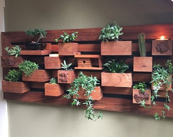 In Stock Solid Mahogany Vertical Succulent Garden Indoors Or Outdoors Living Wall Planter