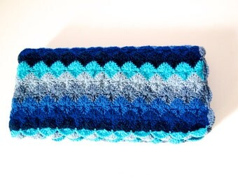 SALE %20 OFF Ready to ship Baby crocheted blanket all wool, shades of blue colors motifs,  35,4''x35,4'' Square, Chunky