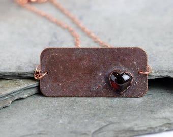 Garnet Necklace Electroformed Copper Electroformed Pendant Crystal Pendant Heart Necklace Bar Pendant