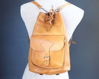 Leather rucksack - leather bag - backpack - bucket bag - brown leather bag - boho - 70s - school bag - shoulder bag - vintage backpack