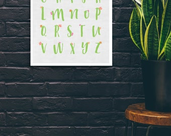 Cactus Alphabet Art Print: ABC art print with cactus and flowers,