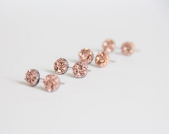 Rose Gold Rock, Faux druzy round studs, Modern jewelry,  Sparkle Earrings, Small Sparkle Earrings, Dainty Jewelry, Bridal Bridesmaid,
