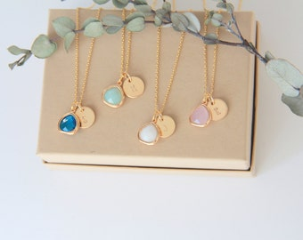 Bridesmaid Gift Jewelry Color Stone Personalized Necklace Pendant Bridesmaid Jewelry Necklace Wedding necklace Gold Bridesmaid Gift