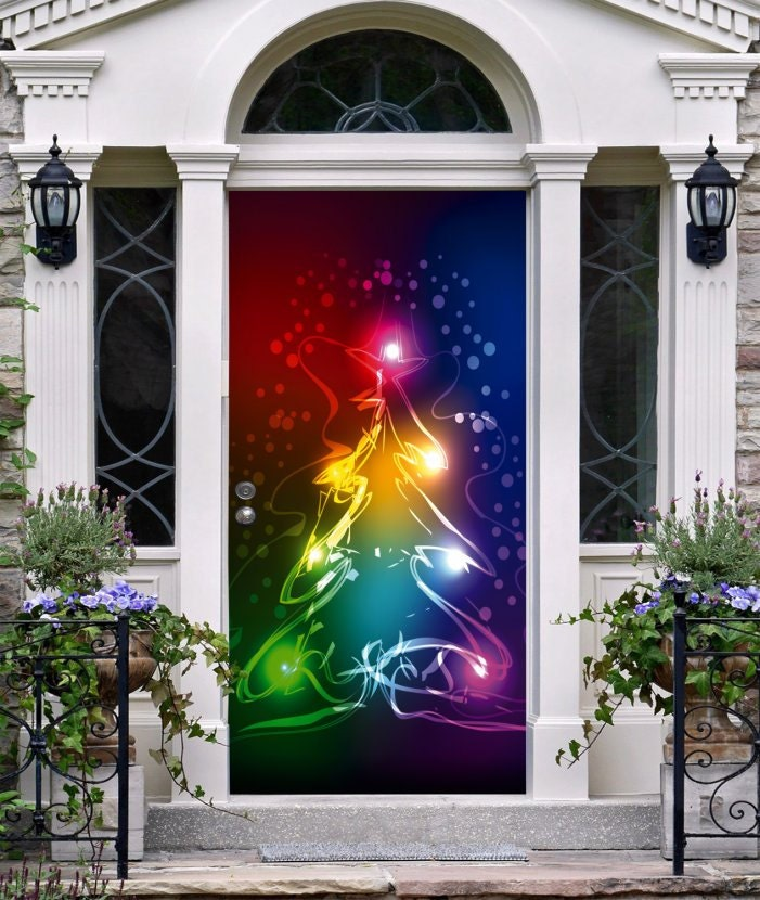 Best 28 christmas tree door cover style your garage for 3d snowman door decoration