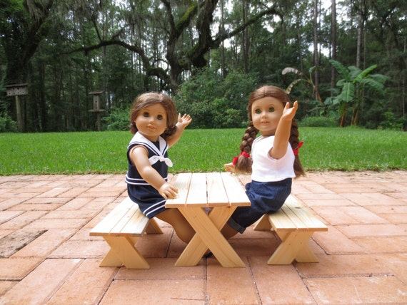 Doll PICNIC TABLE - Small (Seats two dolls) Handcrafted for 18 Inch dolls such as American Girl® One picnic table and two benches