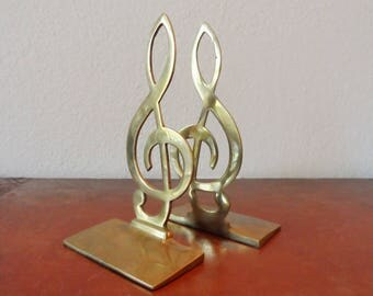 "VTG Brass Music Note Bookends 7"" tall For the Music Lover Musician Library Study Decor Vintage Books Desk Decor"