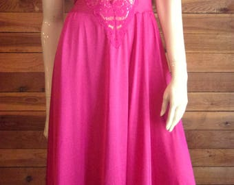 Vintage Lingerie OLGA Dark Pink Style 91480 Size Small Sweep Nightgown