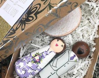 Wedding Cake Topper, Custom Cake Toppers, Peg Couple, Whimsical Wedding Cake Topper, Peg Doll Cake Topper