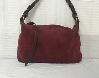 Small ,suede leather purse, bag,red, brown, leather, leather strap, Gap