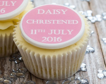 Christening Cupcake Toppers - personalised edible sugar baptism cupcake decorations (pack of 12)
