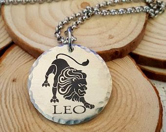 Engraved Zodiac Necklace with Stainless Steel Chain   Leo Lion Zodiac Jewelry   Leo the Lion Zodiac   Custom Engraved Name