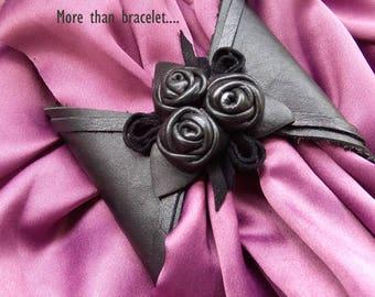 Christmas in July Leather black cuff bracelet Woman  Boho  Jewelry  Wrist Wallet Purse Wristbands