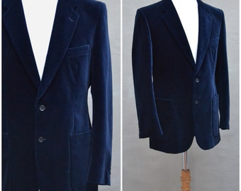 "Vintage Blazer, Men's 1970's blue velvet evening blazer, suit style jacket, Single breasted lounge jacket, Smoking jacket, Chest 39"" / 40"""