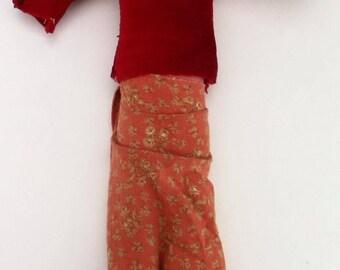 vintage cloth doll-1980s Navajo folk art-handmade doll-ethnic tribal doll-Dine indian doll-native American doll-southwest doll-tourist doll