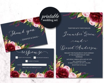Navy Floral Wedding Invitation, Burgundy Wedding Invitation Suite, Boho Wedding Invitation, Gold Navy Wedding Invitation Spring Summer