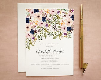 Navy Blush Invitations for Rustic Bridal Shower
