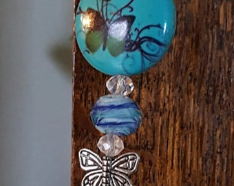 Fluttering Butterfly Silver Turquoise Rear View Mirror Car Charm