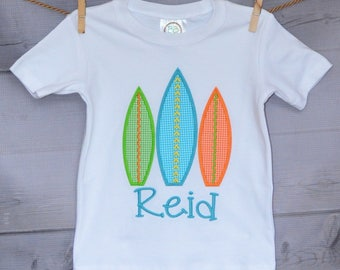 Personalized Surf Board Applique Shirt or Onesie Girl or Boy