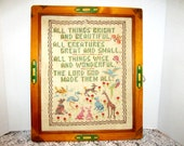 Needlework Wood Framed Message Art Creation Poem Animals Shabby Chic Wall Decor Vintage Collectible Gift Item 2388