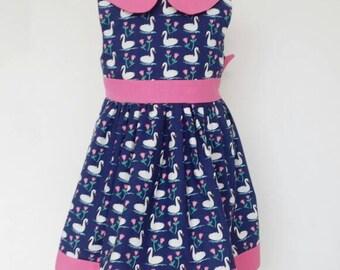 Girls dress, navy dress, swan lake, Peter pan collar, birthday party, birds, flowers, kids clothing, UK