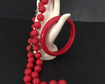 Red Lucite Necklace and Red Lucite Bangle Bracelet Lucite Bead Necklace Red Bangle Bracelet