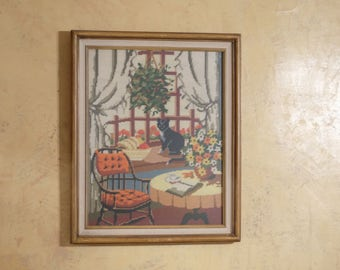 Beautiful Needlepoint Art featuring Black Cat Reading Room Plants and more // Super 70s Grandma core