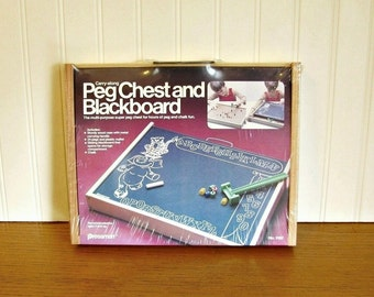 Vintage Children's Pegboard Children's Blackboard Travel School Pressman Peg Chest and Blackboard Travel Pegboard Travel Toy Travel Game