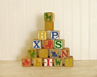 Vintage Large Wood Alphabet Blocks Lot of 16 Animal Blocks Large Letter Blocks Wood Letter Blocks Wood Blocks Toy Blocks