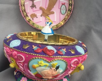 Vintage Colllectable Alice In Wonderland Circle Music Box