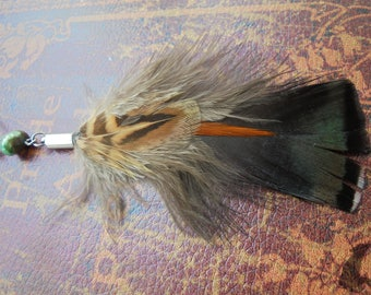 Witchy Single Turkey Feather Dangle Earring